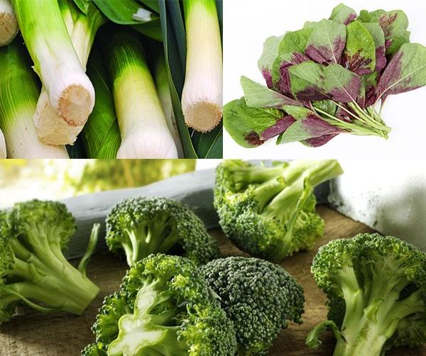 Tỏi tây, súp lơ, rau dền