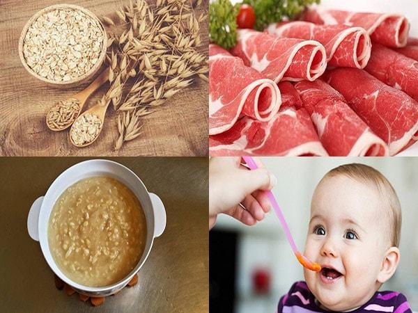 cháo yến mạch thịt bò cho bé ăn dặm 1