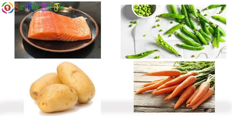 Nguyên liệu chính nấu cháo cá hồi đậu Hà lan