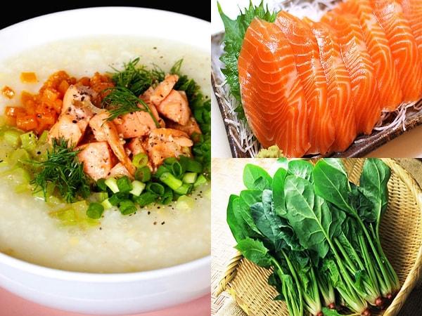 Kết quả hình ảnh cho Cháo cá hồi, rau bina và khoai lang ngọt