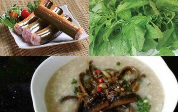 cháo lươn nấu với rau dền