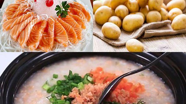 cháo cá hồi khoai tây