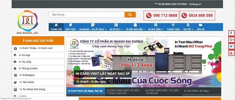 Website công ty Cổ phần In nhanh Đại Dương